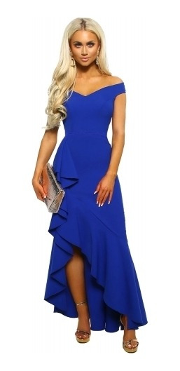 Vestido De Fiesta Off Shoulder Azul Rey Love Glamour
