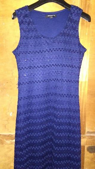 Vestido Largo Musculosa Azul Brillo Fiesta Mujer Importado