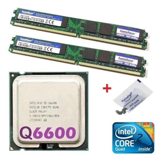 Kit Cpu Core 2 Quad Q6600 2.4ghz + Memória Ddr2 4gb + Cooler