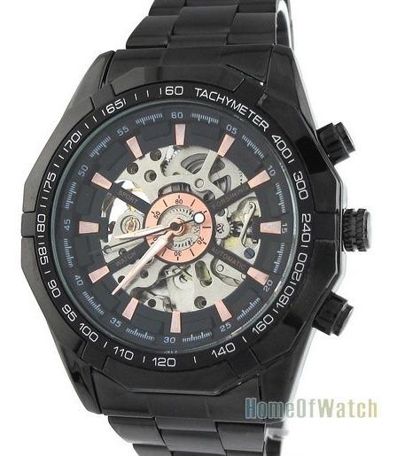 Relógio Masculino Automático Grande Black Em Inox Esqueleto