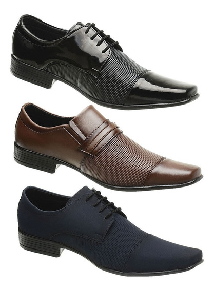 Kit 3 Sapato Social Masculino Confortável, Oferta + Barato