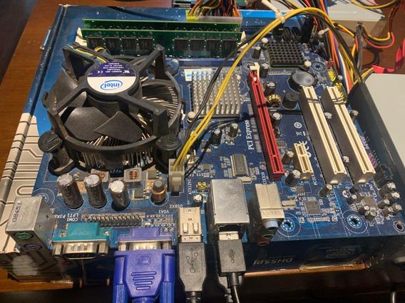 Kit Placa Mae 775+ 3 Giga+ Dual Core+ Coller+ Espelho Ab001