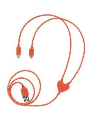 Cable Carga Dual Heart iPhone / Android Kikkerland