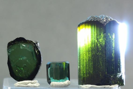 Coleção Turmalinas Verde Escuro 1 Bruta + 2 Lapidadas Goldmb