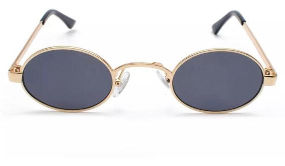 Óculos Sol Steampunk Pequeno Retrô Vintage Oval Moda Uv400