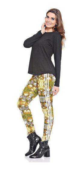 Calza Simil Versace Algodon Rayas Laterales Mujer Colores