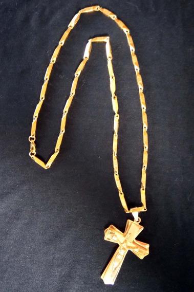 Corrente Com Crucifixo Dourado Aço Cirúrgico Ouro