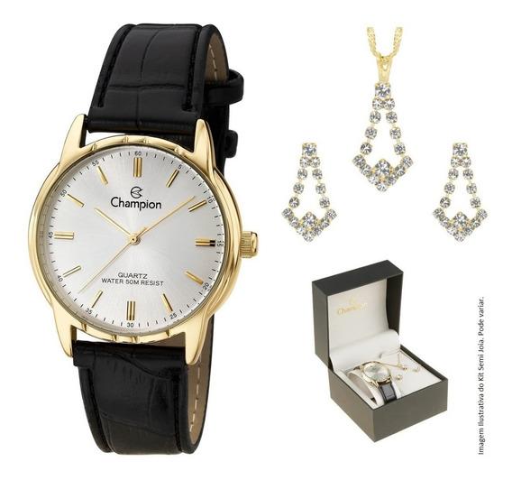 Relógio Champion Feminino Couro Preto Ch22519w Colar Brincos