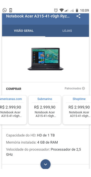 Notebook Acer A315-41-rogh