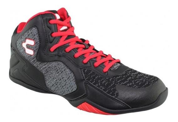 Tenis Bota Hombre Marca Charly Textil Negro Rojo 7494