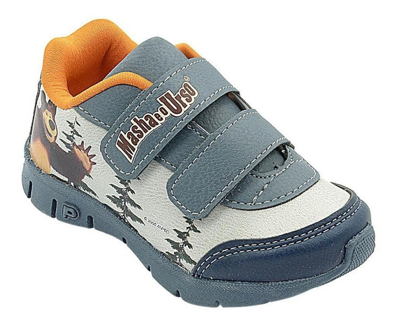Calçado Infantil Pé Com Pé Tenis Azul Masha E Urso 20 Ao 27