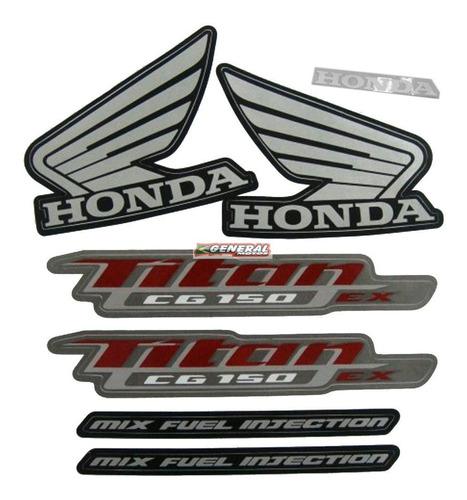 Kit Adesivo Jogo Faixas Moto Honda Titan 150 2013 Ex Preta