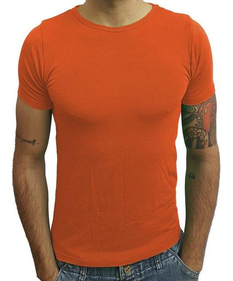 Camisa Slim Básica Camiseta Gola Redonda Manga Curta Sjons