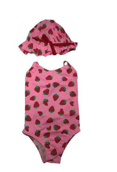 Maiô Bebê/infantil Com Chapéu E Proteção Solar Fator Uv 50