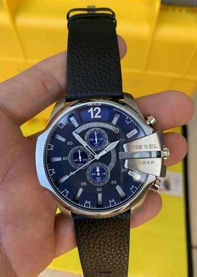 Relógio Dz Prata Com Fundo Azul Pulseira De Couro