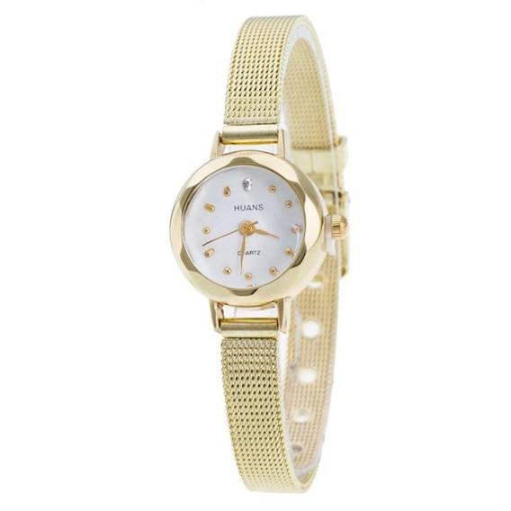 Reloj Para Dama Moderno Elegante Dorado Tendencia Femenina
