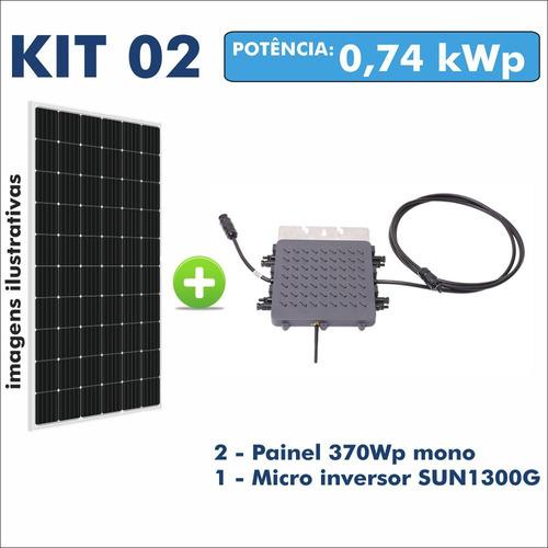 Kit Usina Solar Gerador Micro Inversor + 2 Painel 370w