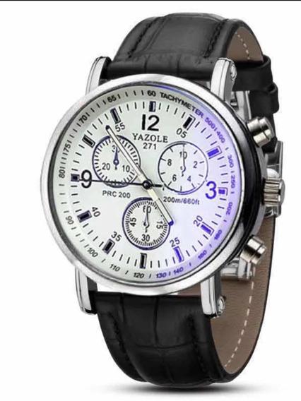 Relógio Masculino Yazole Pulseira Couro Luxo