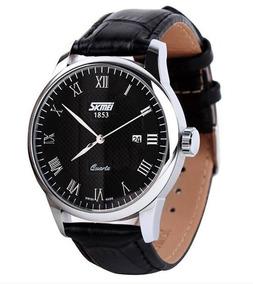 Relógio Skmei Luxo Original Pulseira Couro Preto/prata 9058