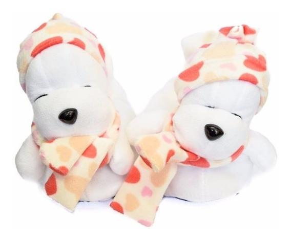 Pantuflas Oso Con Gorro Niños Blancas