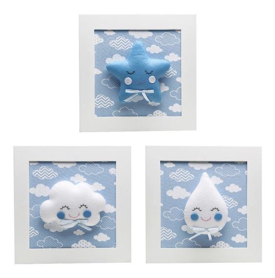 Trio Quadrinhos Quadro Chuva Amor Quarto Bebê Infantil Azul
