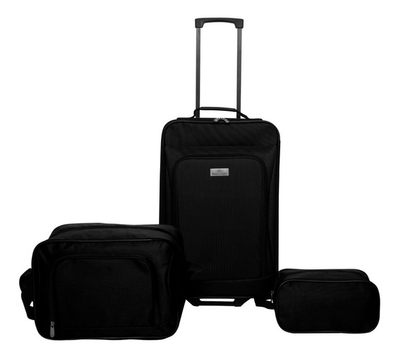 Set De Valijas 3 Piezas Protege Carry On + Maletín + Neceser