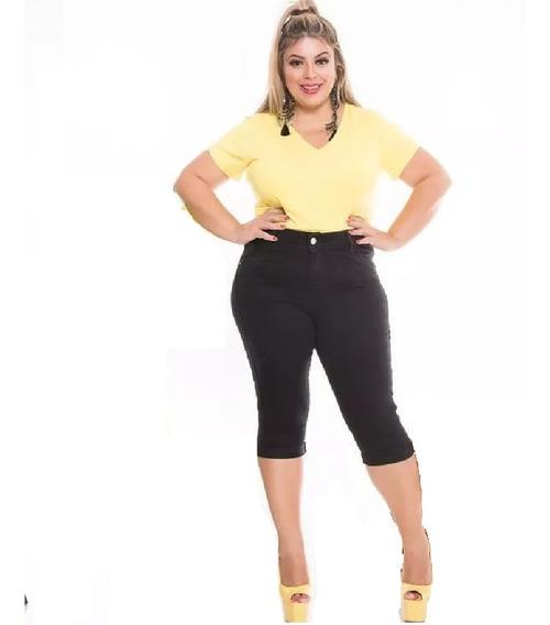 Calça Jeans C/ Lycra Corsário Preta Feminina Plus Size