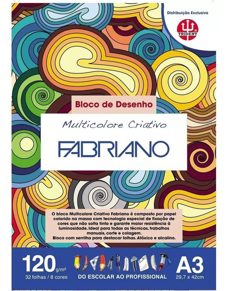 Bloco Papel Color Set Fabriano A3 32fl 120g - 1 Bloco