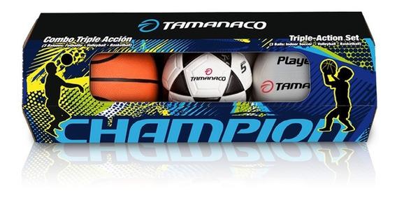 Combo Balon Basket Futbol Voleibol Triple Accion Tamanaco
