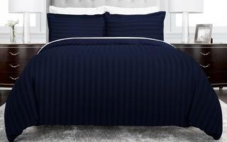 Duvet Cover Azul Oscuro Líneas Microfibra Semidoble