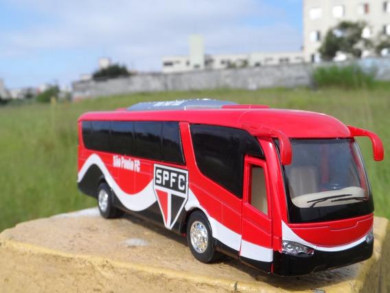 Miniatura Ônibus Do São Paulo Fc -em Metal - Time De Futebol