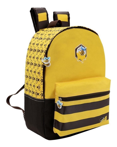 Mochila Infantil Com Bolso Frontal Abelhinha Bee Colorizi