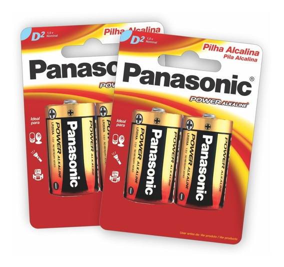 4 Pilhas Alcalinas Panasonic D (grande)