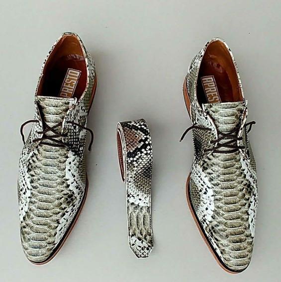 Zapatos De Hombres De Vestir Charol Cuero Y Cinto Víbora
