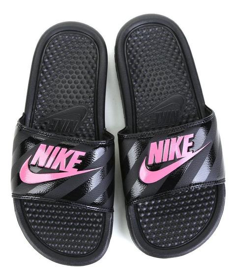 Chinelo Sandália Nike Benassi Slide Original - Preto/rosa