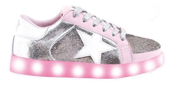 Zapatillas Estrella Metalizada Rosa C/ Led- Footy Oficial