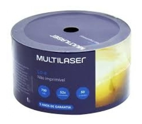 50 Midia Cd-r Virgem Multilaser C/logo 52x 700mb 80min Cdr