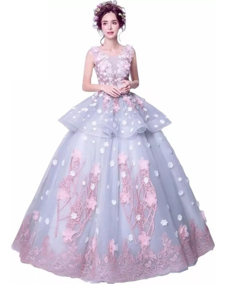 Vestido Xv Años Rosa Con Flores Envio Gratis Bordado Flores