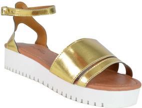 Sandália Dourada Metalizado E Branco - Frete Grátis