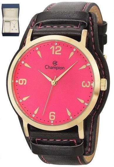 Relógio Champion Feminino Couro Fundo Rosa - Cn20328j