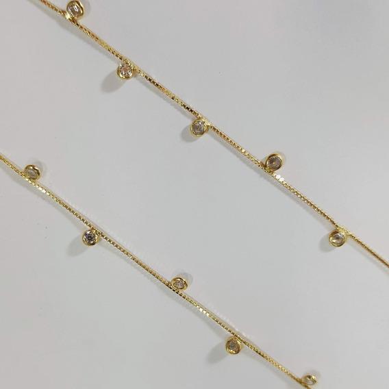 Gargantilha De Ouro 18k Com Pedras De Zircônia 2,5mm