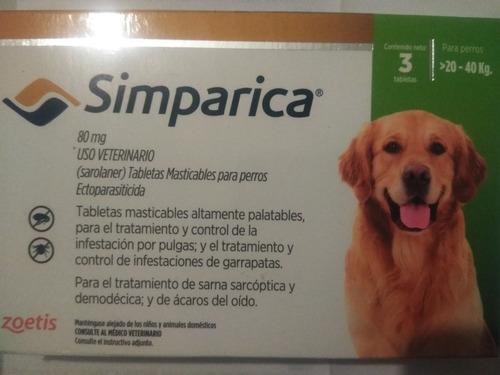 Tabletas Simparica Anti-pulgas Y Garrapatas De 10a20kg 15v.