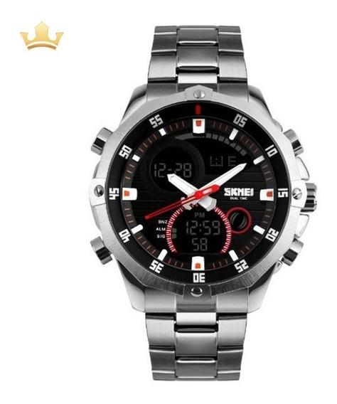 Relógio Masculino Skmei Anadigi 1146 Prata Com Nf