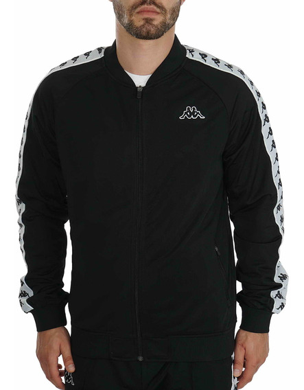 Campera Kappa Authentic Bomber Slim Negro Blanco Hombre