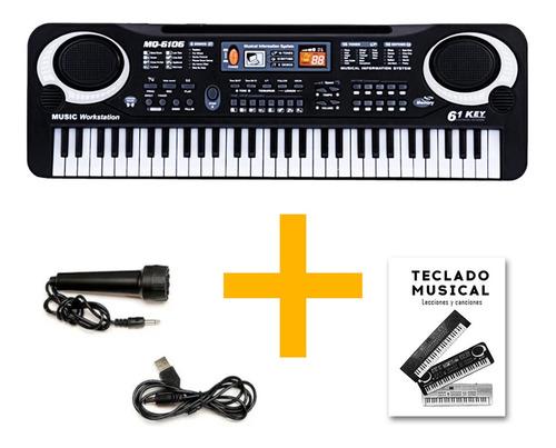 Imagen 1 de 10 de Organo Piano Teclado Musical Infantil Microfono Mq6106 Full