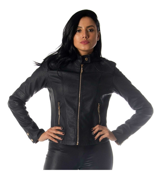 Jaqueta De Couro Feminina Preta Casaco Blusa De Frio