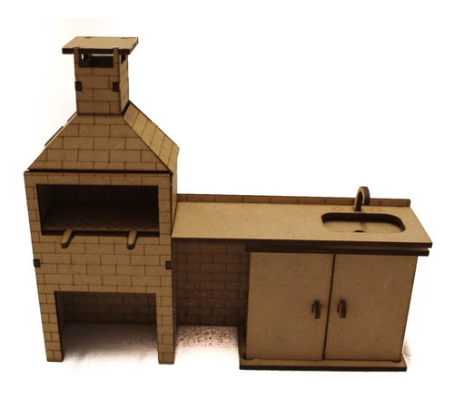 Imagem 1 de 1 de Churrasqueira Com Pia Miniatura Casinha Polly Pocket