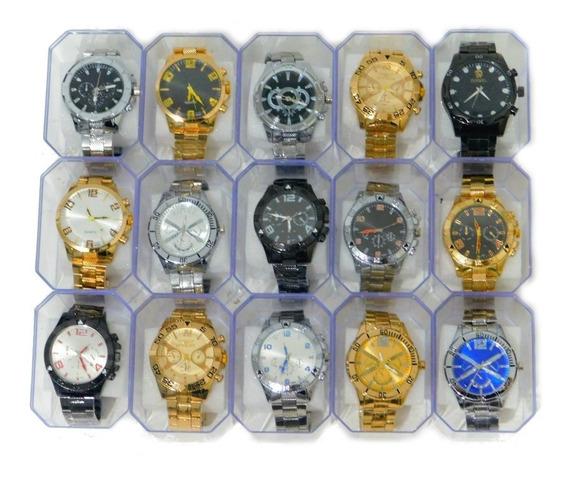 Kit C/15 Relógios Masculino No Atacado Luxo Aço Revenda Top