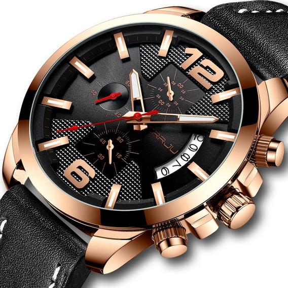 Relógio Masculino Pulseira Couro Crrju Funcional Cronômetro