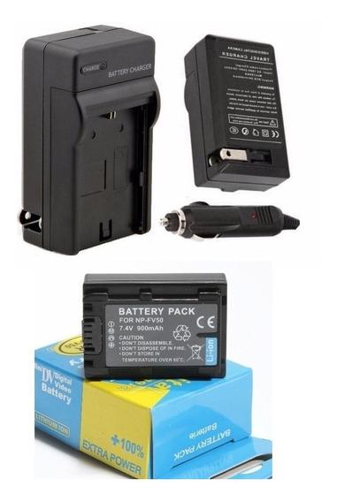 Kit Bateria Np-fv50 Np-fv30 + Carregador P/ Sony Dcr-pj5 Pj6